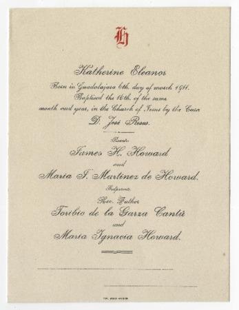Baptism announcement for Katherine Eleanor Howard Library Digital