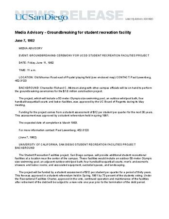 Media Advisory - Groundbreaking for student recreation facility