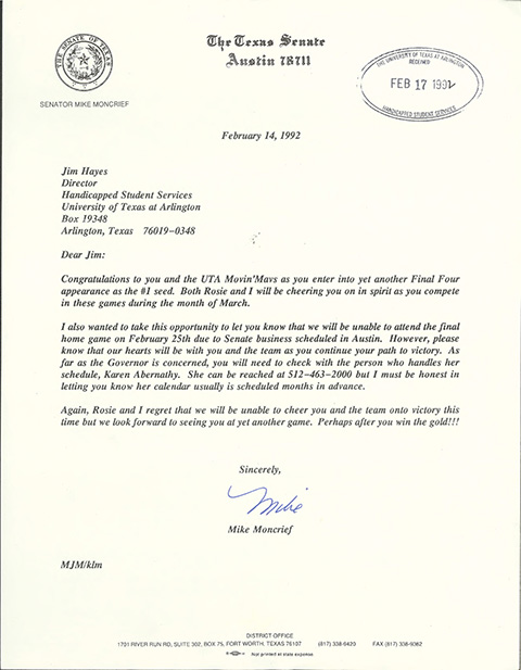 Letter from Mike Moncrief to Jim Hayes expressing regret for not