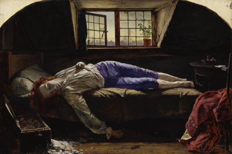 La muerte de Chatterton. Ilustración de Henry Wallis (1830-1916)