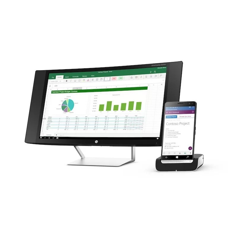 HP Elite x3 with HP Pavilion 27c Curved Monitor and HP Desk Dock, Multiple View