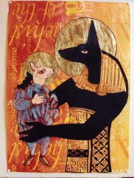 3. Anubi e il mostriciattolo carolingio (litografia a colori con interventi a foglia d'oro)