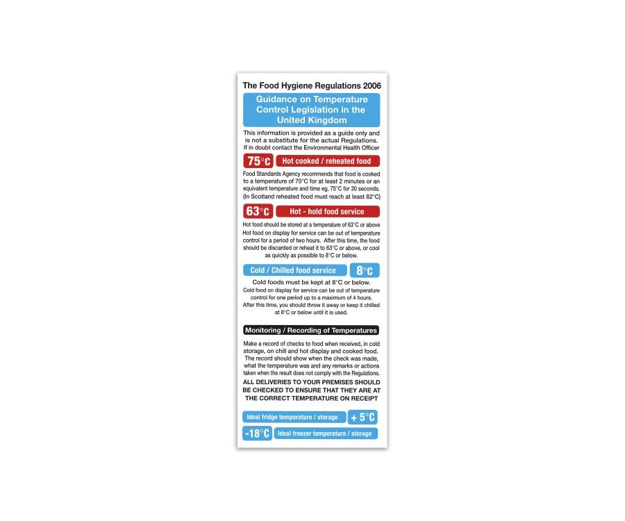 Food Hygiene Regulations 2006 - Temperature Control