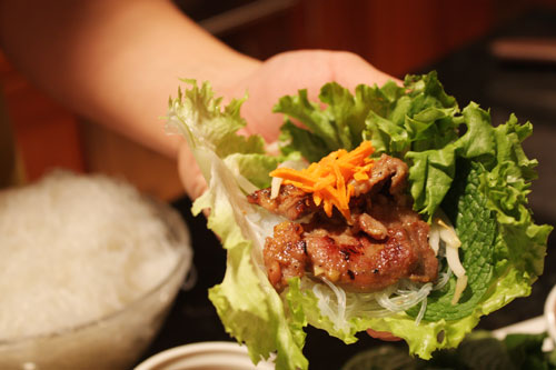 Bun Cha Hanoi, Grilled Pork and Rice Vermicelli Lettuce Wraps