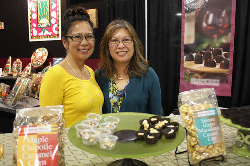 Rose Ramos-Benzel (left), creator of L'Estasi Dolce, with her sister at the Fancy Food Show 2009