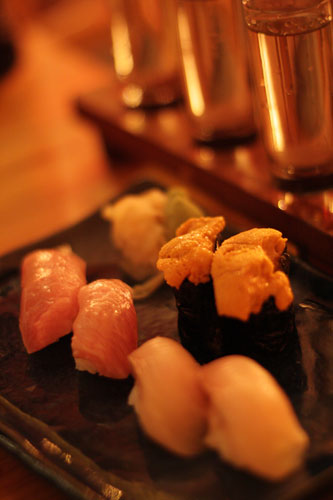 Toro (tuna belly), Konakanpachi (yellowtail fed and raised to be high in omega-3 fatty acids), Uni (sea urchin roe)