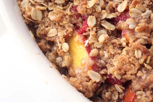 Nectarine and Raspberry Crisp