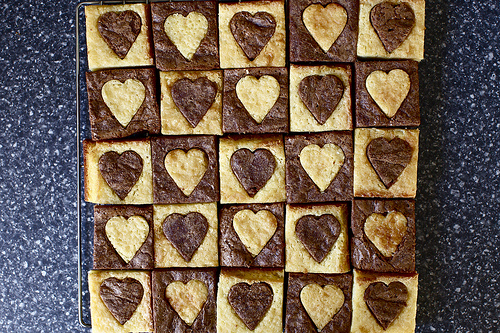 White and Dark Hearted Brownies
