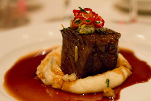 Chili and Chocolate Braised Wagyu Short Ribs, Parsnip Puree