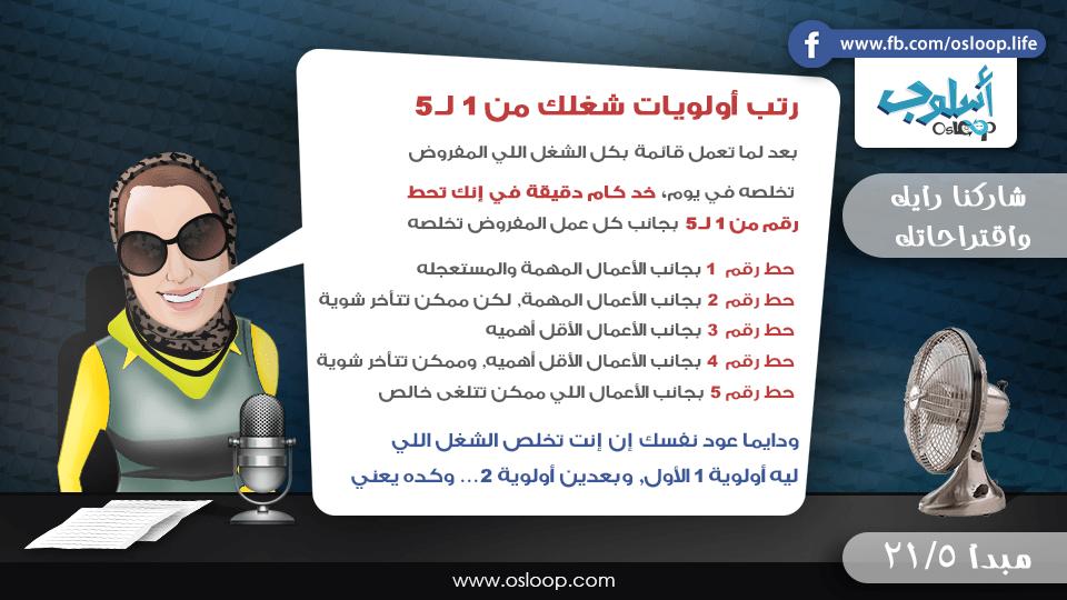 المبدأ الخامس من مجموعة الواحد وعشرون هدف لحياة أكثر إيجابية رتب أولويات شغلك من ١ ل ٥ وإبدأ دايما بالشغل على الأعمال الأكثر أهمية