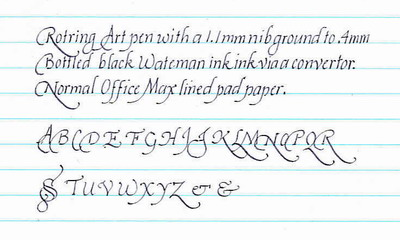 Italic hand writing calligraphy