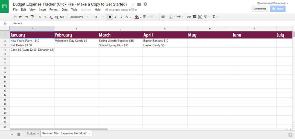 Free Budget Spreadsheet Template - Life and a Budget