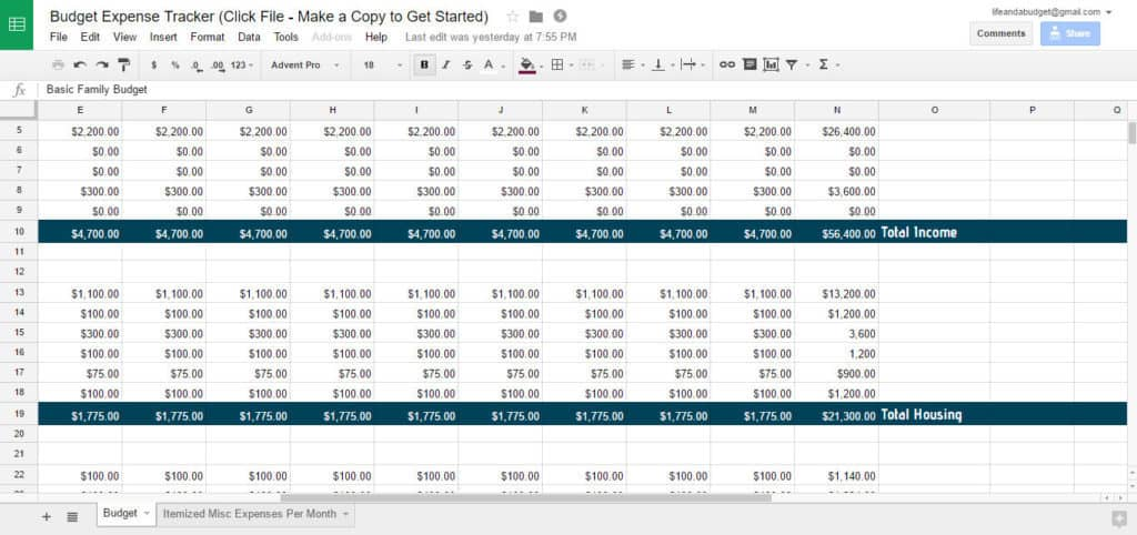 Free Budget Spreadsheet Template - Life and a Budget - freebudget