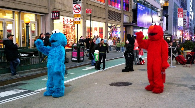 Cookie Monster and Elmo Hang Out in Times Square