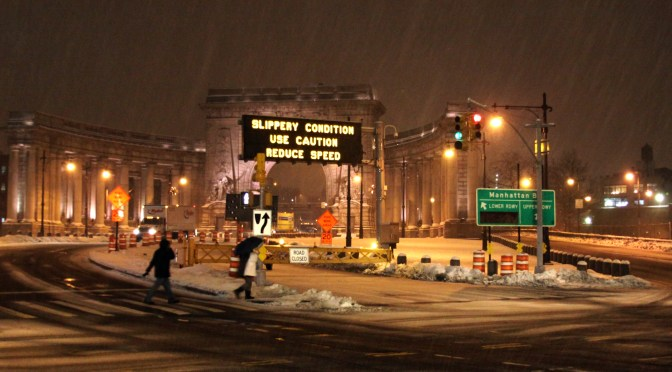 Snow Falling at the Manhattan Bridge Entrance