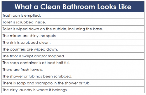 definition of a clean bathroom, grab this free printable checklist
