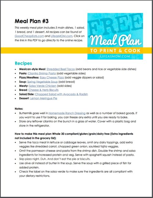 FREE Weekly Meal Plan to Print  Cook - Life As Mom