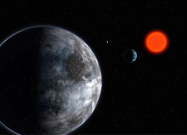Artist's impression of the planetary system around the red dwarf Gliese 581. Using the instrument HARPS on the ESO 3.6-m telescope, astronomers have uncovered 3 planets, all of relative low-mass: 5, 8 and 15 Earth masses. The five Earth-mass planet (seen in foreground - Gliese 581 c) makes a full orbit around the star in 13 days, the other two in 5 (the blue, Neptunian-like planet - Gliese 581 b) and 84 days (the most remote one, Gliese 581 d).