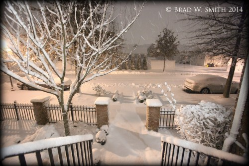 suburban street, parked cars, sidewalk, tree, brick and iron fence all snow covered, falling snow at twilight