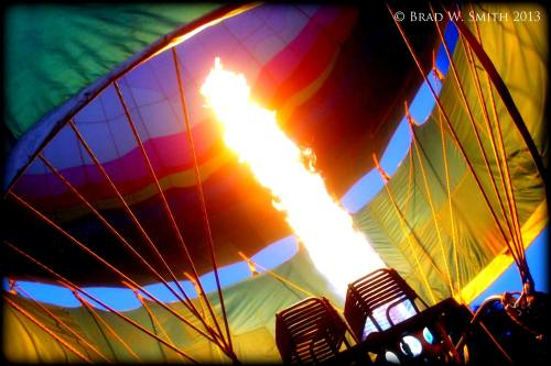 bright white flame heating air in hot air balloon