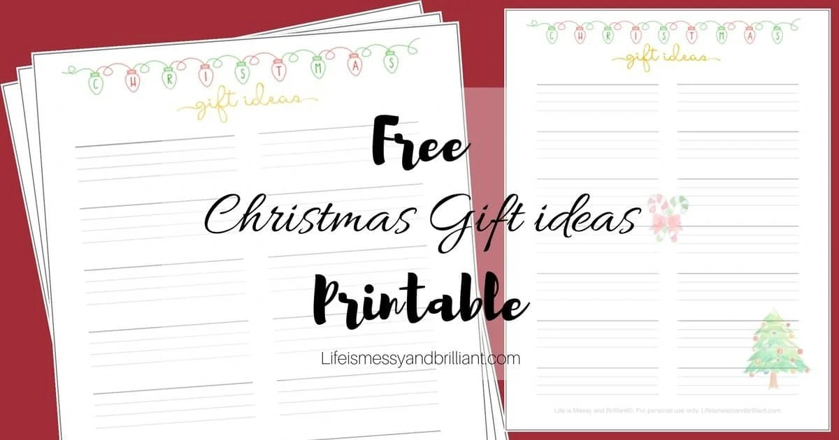 FREE Christmas Gift Ideas Bullet Journal Printable