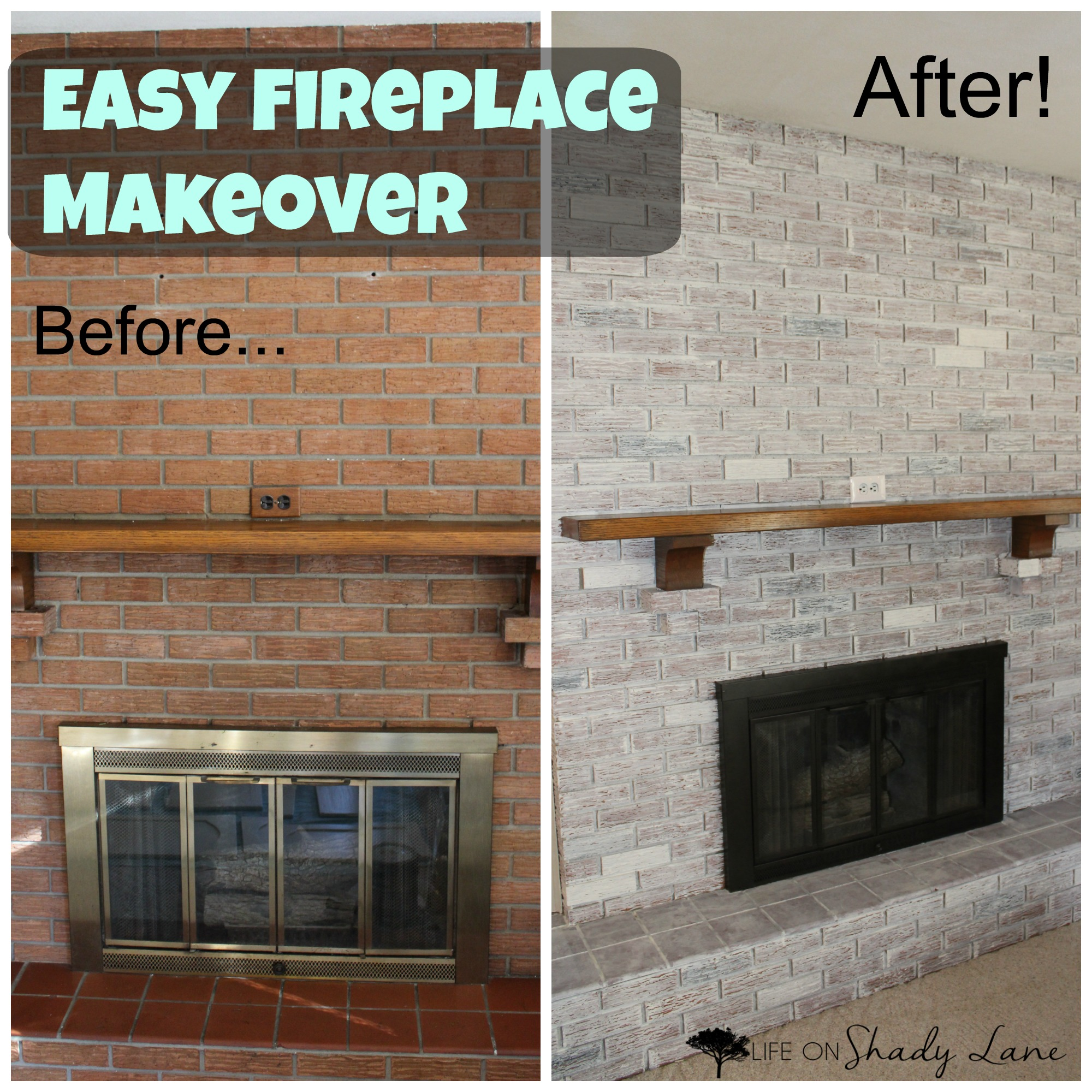 Whitewash Fireplace Before And After How To Whitewash A Brick Fireplace