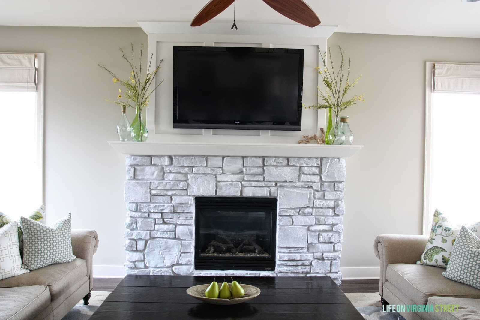 Whitewash Fireplace Before And After A White Washed Stone Fireplace Tutorial Life On Virginia Street