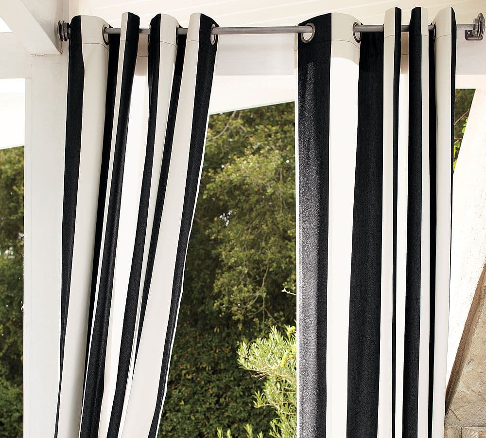 Black Stripe Curtains Striped Outdoor Curtains And Drapes Life On Virginia Street