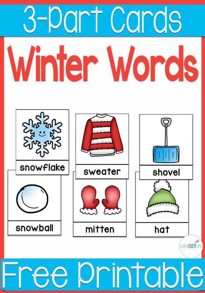 Free 3-Part Cards for Winter Word Work