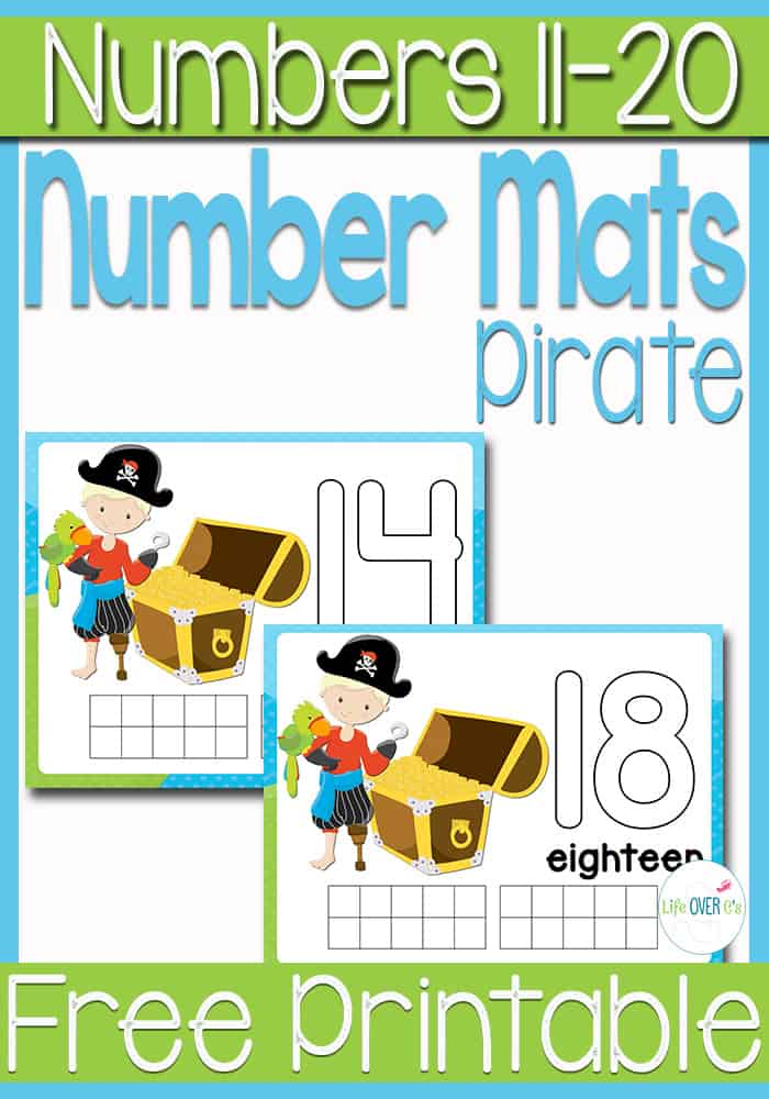 FREE Pirate Printable Play Dough Number Mats #s 11-20