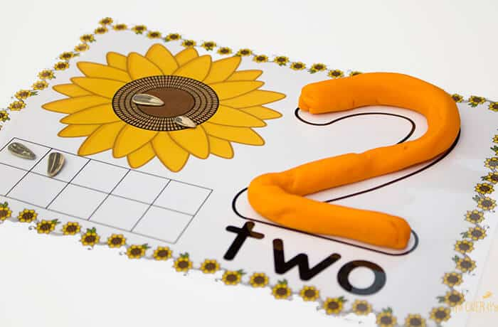 Free Sunflower Play Dough Counting Mats Numbers 1-10