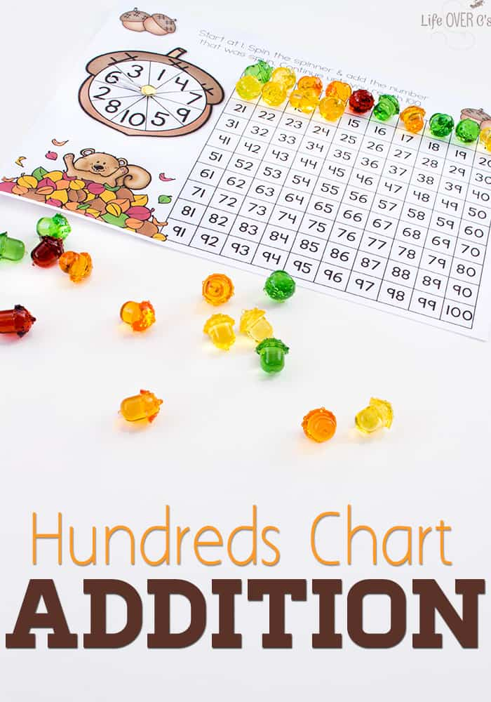 Acorn Addition with Hundreds Chart Free Printable