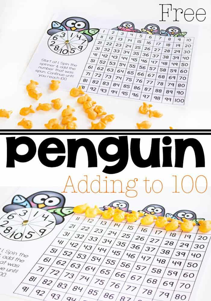 Penguin Addition to 100 with Hundreds Chart - Life Over Cs - hundreds chart