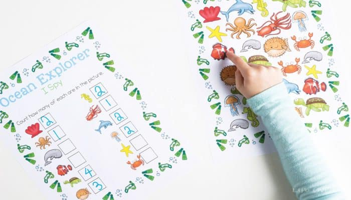 Ocean I Spy Counting Printable for Preschoolers - Life Over Cs