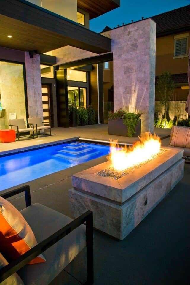 Fire Pit Night Pool