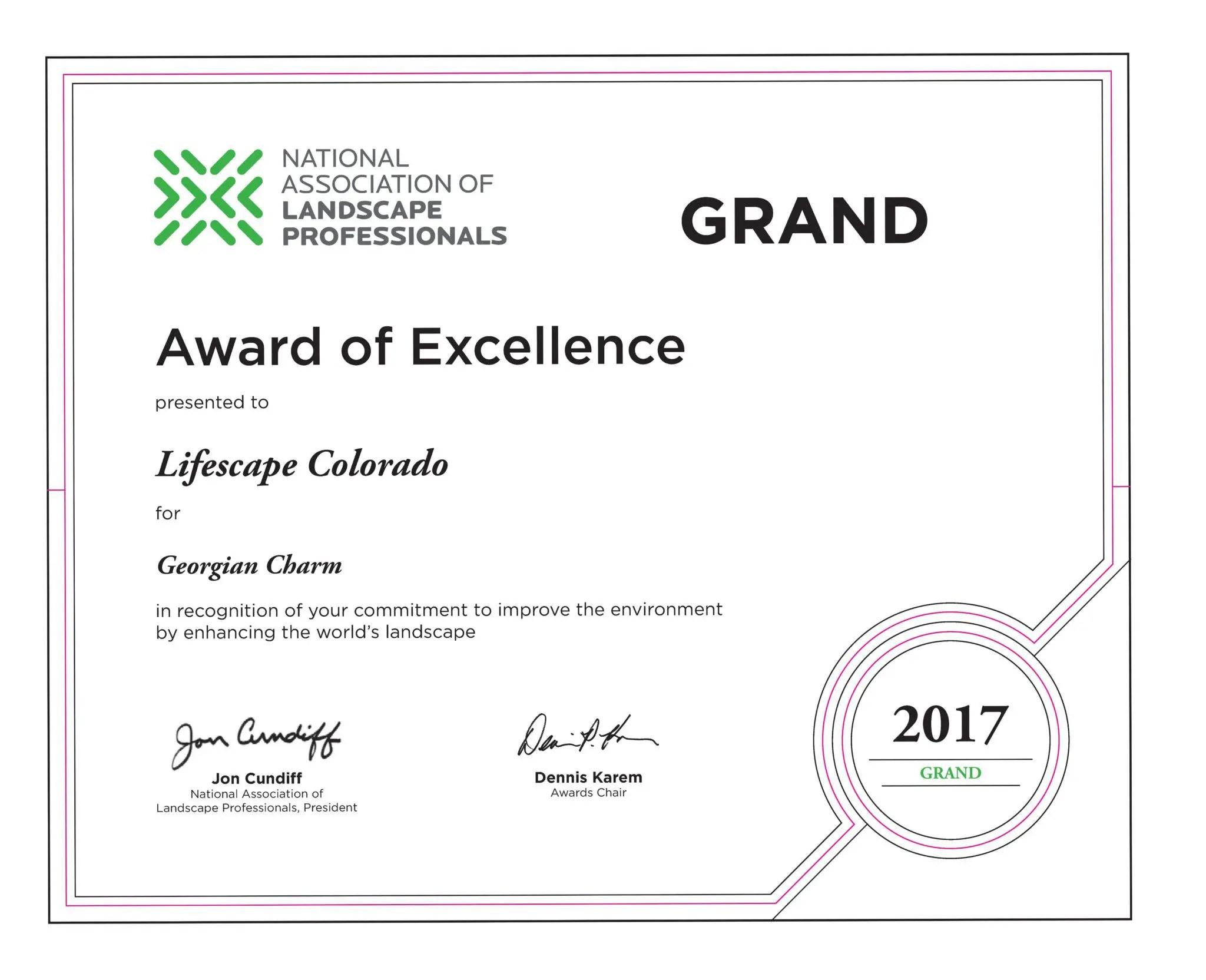 awards recognition lifescape colorado