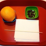 Image shows a red tray with a bowl of whole cloves, a large orange resting in a small bowl, a wooden skewer and some paper towels.