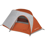 Image shows an inexpensive backpacker tent from Walmart.