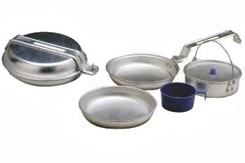Image shows a metal mess kit for beginning backpacking