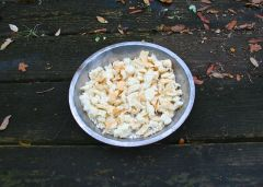 Image shows bird bread feed on a porch outside.