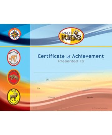 Ranger Kids Certificate of Acheivement pkg/10