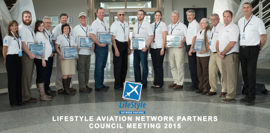 LifeStyle Aviation Network Partners Group Shot with certificate 2015