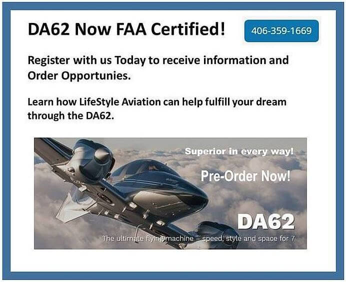 Diamond DA62 - Register with Us