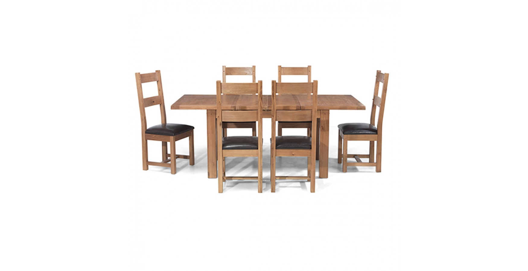 Dining Room Furniture Rustic Rustic Oak 132 198 Cm Extending Dining Table And 6 Chairs