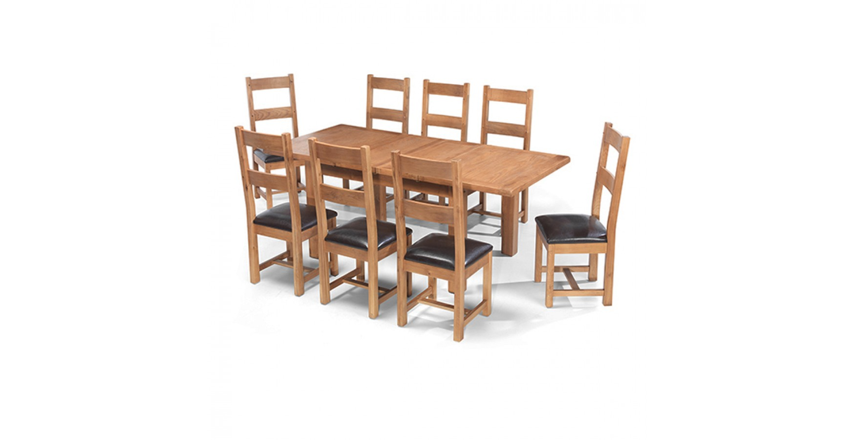 Dining Room Furniture Rustic Rustic Oak 132 198 Cm Extending Dining Table And 8 Chairs