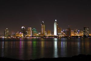 Picture shows San Diego's skyline at night