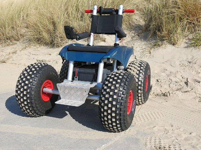 Wheelchair specially built on rough road conditions