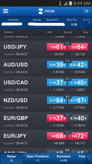 Managing Forex trading using a mobile app