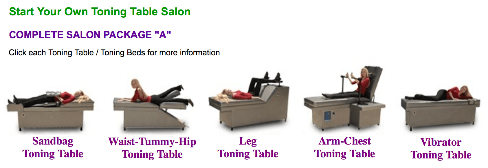 Table Salon Toning Tables Exercise Business Opportunity Lifetime Wellness
