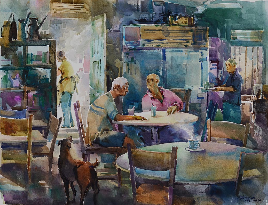 Coffee Art Jakarta Singapore Watercolour Oil Painting Ng Woon Lam Nws Awsdf Df